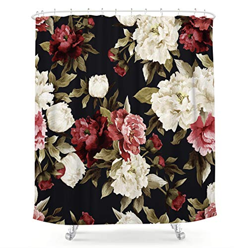 LIGHTINHOME Watercolor Floral Shower Curtain Rustic Flowers Rose Girl Retro Leaves Blossom Peony Woman Waterproof Fabric Bathroom Home Decor Set 12 Pack Plastic Hooks 72x72 Inch