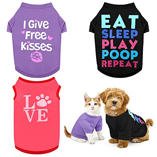 RUODON 3 Printed Puppy Shirts Dog Shirt Pet T-Shirt and Dog Vest Soft Puppy Dog Clothes Pet Outfits Cute Pet Sweatshirt for Small Dogs and Cats (L)