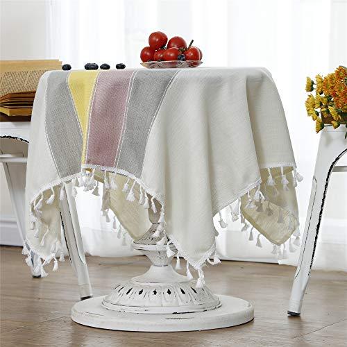 小さな正方形のテーブルクロスコットンリネン刺繍ステッチタッセルテーブルカバー用家の装飾パーティー結婚式屋外ベージュカラフル 90×90CM