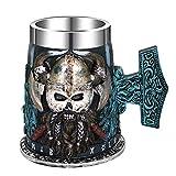 Taza de cerveza con forro de acero inoxidable, diseño de guerrero de cuernos vikingos con casco de batalla, 472 ml, diseño de calavera pirata nórdica, regalo único coleccionable