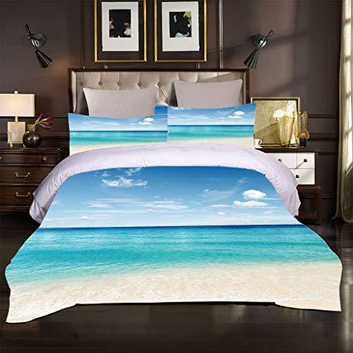 Ocean Seaside Scenery - Juego de ropa de cama (4200 x 200 cm), diseño de olas azules, color azul