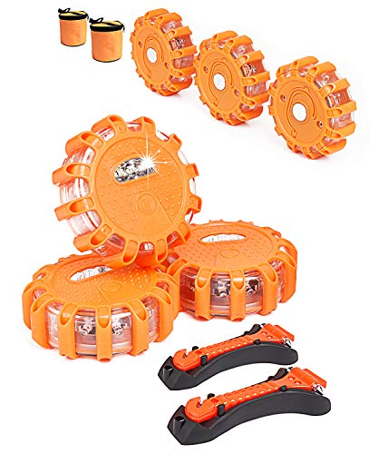 6-Pack Roadside Safety Discs, LED Road Flares with Safety Hammer, Batteries and Storage Bag included, Flare Kit Emergency for Vehicles, Truck, Car