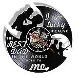 yltian Tengo Suerte Porque el Mejor papá del Mundo me ama Vinilo LP Disco Reloj de Pared Reloj de Pared Negro Regalo del día del Padre
