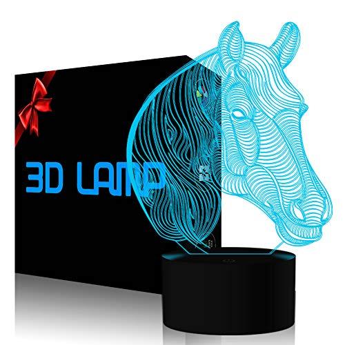 3D-illusionslampa häst led nattlampa, 7 färger blinkande touch brytare sovrum dekoration belysning för barn julklapp