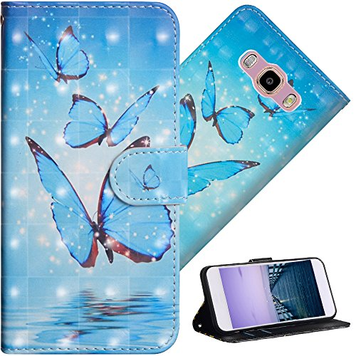 COTDINFOR pour Samsung Galaxy J3 2016 Custodia Cover TPU 3D Effect Painted PU in Pelle con Wallet Card Holder Flip Custodia per Samsung Galaxy J3 2015 / J3 2016 Three Blue Butterflies YX.