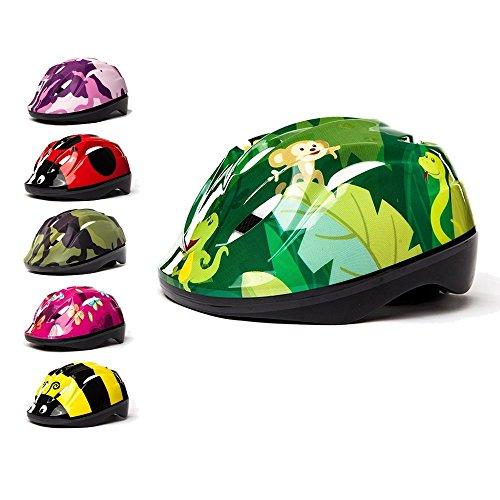 3StyleScooters® SafetyMAX® Kinder Fahrradhelm - 6 Fantastische Designs - Perfekt zum Radfahren und Rollerfahren - größenverstellbares Kopfband - für Kinder im Alter von 4 bis 11 Jahren (Urwald)