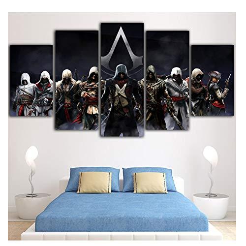 Suuyar Spiel Poster Assassins Creed Malerei Schwarz Leinwand Kunst Wandbilder Für Wohnzimmer Malerei Decoration-40x60 40x80 40x100 cm Kein Rahmen