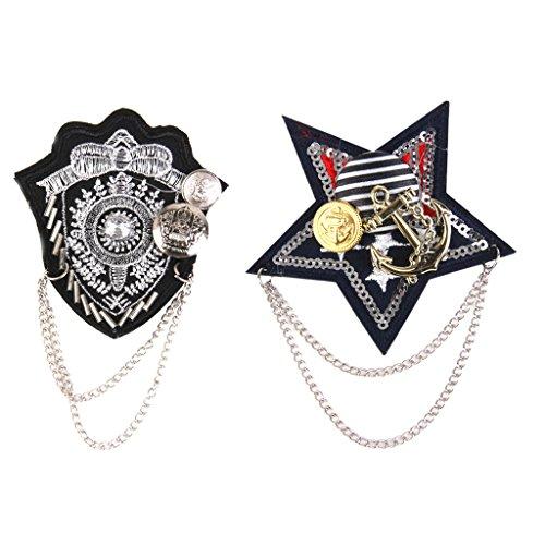 IPOTCH 2 Unids/Lote Militar Plata Cadena Ejército Broches Broche Pin Fiesta Hombre Accesorio