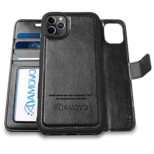AMOVO [Upgraded] Case for iPhone Xs Max [2 in 1] iPhone Xs Max Wallet Case Detachable [Wireless Charging] [Vegan Leather] iPhone Xs Max Flip Case (XSMAX (6.5) Black)