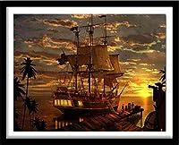クロスステッチ 大人のためのクロスステッチキット 海での帆船 40x50cm 11CT番号別刺繍キット手作りキットパンチ針刺繍DIY初心者向け手作りスターターキット