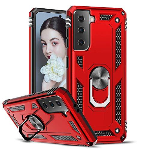 LeYi Funda Samsung Galaxy S21 5G,Armor Carcasa con 360 Grados Anillo iman Soporte Hard PC Silicona TPU Bumper Antigolpes Case para Movil Samsung Galaxy S21 5G,Rojo