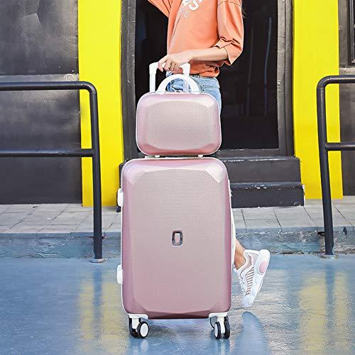 HLXB Set di Valigie Rigida Bagaglio Leggero Trolley da Viaggio per Studenti e Ragazze Adolescenti con Custodia Cosmetica da 14.5cm