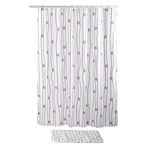 sourcing map Rideau de douche polyester résistant eau anneaux 72 x 72 pouce Motif de fleur blanc