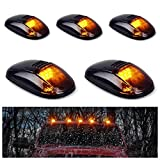 5pcs Black Smoked Lens Amber LED Cab Roof Marker Lights, KOMAS Roof Top Lamp Clearance Running Light Replacement for Truck SUV 1999-2002 Dodge Ram 1500 2500 3500 4500 (Black Smoked Lens& Amber LED)