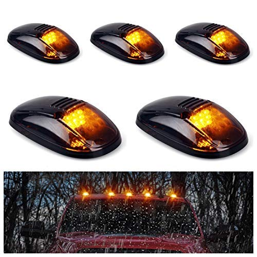 5pcs Cab Roof Marker Lights, Roof Top Lamp Running Light Replacement for 1999-2002 Dodge Ram 1500 2500 3500 4500, and other Truck ,SUV (Black Smoked Lens With Amber LED)