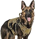 rabbitgoo Tactical Dog Harness Vest Medium with Handle, Military Dog Harness Working Dog Vest with MOLLE & Loop Panels, No-Pull Adjustable Training Vest with Metal Buckles & Leash Clips for Walking