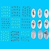 MZCMSL Black White Spider Web/Leaf/Panda/Swirl Flower Nail Water Decals Nail Tattoos Water Transfer,33 Sheets
