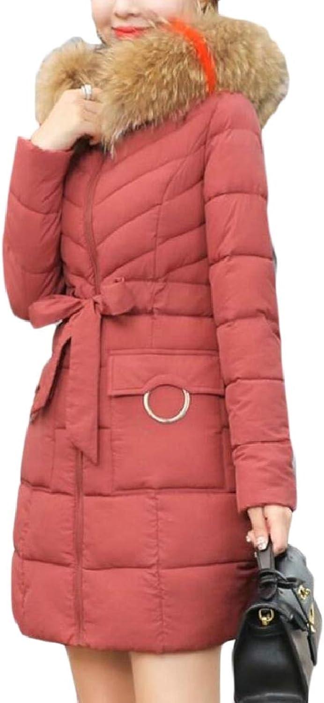 PujinggeCA Women's Thicken Mid Long Casual FauxFur Collar Padded Down Jacket Coat