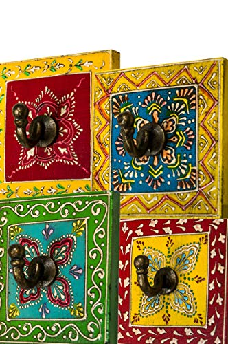 4 Stück Vintage Garderobe Kleiderhaken Istari Bunt 10cm groß 1er Haken   Hakenleiste Wandhaken für die Wand oder Tür   Kleiderhakenleiste Garderobenhaken aus Holz   handtuchhaken im Bad oder Küche