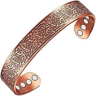 Wollet Jewelry - Bracciale rigido magnetico in rame, da uomo, per alleviare il dolore causato dall'artrite, 17,78 cm, con ...
