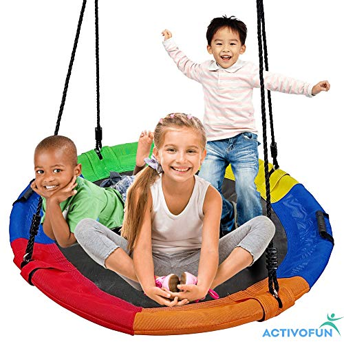 Outdoor Swing with 40 Inch Saucer Swing - Textilene Fabric Tree Swings for Kids Outdoor - Disc Kids Swing for SwingSet - 700lbs, Also for Adult, Round Tire Swing Fits 3 Kids in Saucer Tree Swing Seat