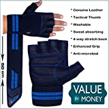 Xtrim Macho - Professional Wrist Wrap Support Gym Gloves-Washable Real Leather-Tactical Thumb-4-way Stretch Back-Luxurious Closure-Weight Lifting Gloves for Palm Protection-Grip Strength (L, Blue) tactical gloves Oct, 2020
