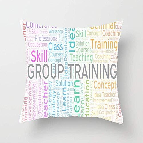 N\A Entrenamiento de Habilidades grupales gratuitas Word Cloud Education Desarrollo de Burbujas Coaching Collage Cursos de Colores Funda de Almohada Funda de cojín para sofá Interior Dormitori