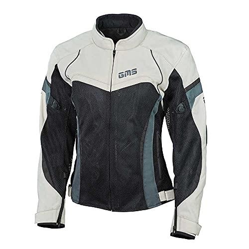 gms Tara Damen Motorradjacke mit Protektoren - Textil aus Mesh Gewebe mit GERMADURA 600D, Sommerjacke mit Thermoweste, Farbe:beige-schwarz, Größe:DXS