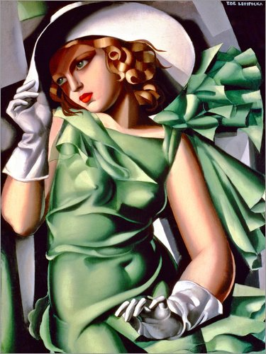 Stampa su Tela 60 x 80 cm: Young Lady with Gloves di Tamara de Lempicka/Museum Masters International - Poster Pronti, Foto su Telaio, Foto su Vera Tela, Stampa su Tela