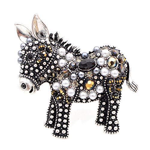 COLORFULTEA Arrival Cute Beads Donkey Brooches for Women Fashion Animal Pins Elegant Coat Accessories Gift