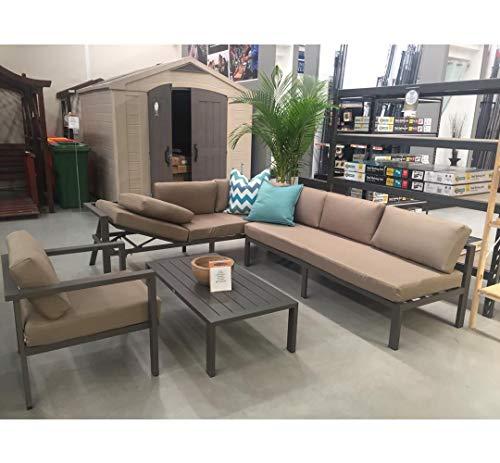 Stellahome Aluminum Outdoor Sectional Patio Sofa Furniture Modular 4Pcs Conversation Set Tan,No Assembly w/Adjustable Lounge Recliner