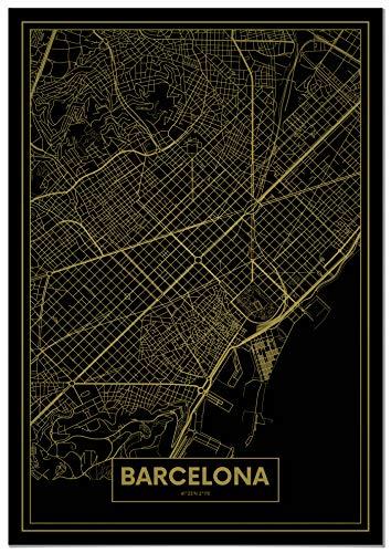 Panorama Póster Mapa Oro de Barcelona 50 x 70 cm - Impreso en Papel 250gr - Póster Pared - Cuadros Decoración Salón y Dormitorio - Póster Decorativos - Cuadros Modernos
