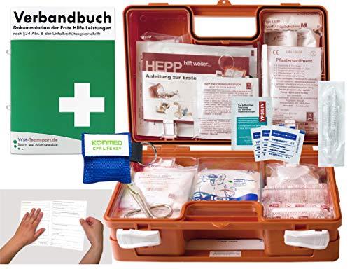 Verbandskoffer/Verbandskasten (K) Typ N - Erste Hilfe nach DIN 13157 für Betriebe -DSGVO- INKL. PERFORIERTEM VERBANDBUCH + Notfallbeatmungshilfe