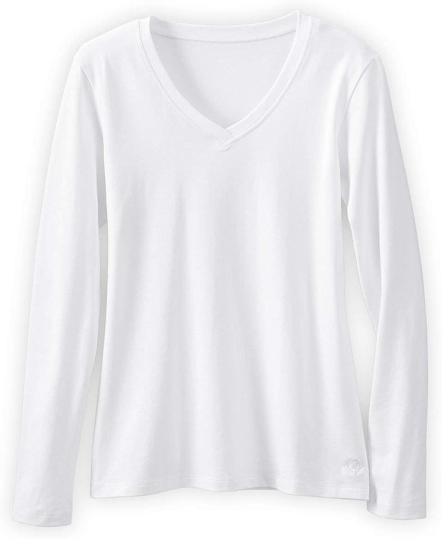 Fair Indigo Women's Organic Cotton Long Sleeve V-Neck T-Shirt
