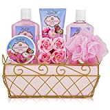 Relaxing Bath Spa Kit For Men, Women and Teens, Gift Set Bath And Body Works-Natural Peach Blossom Aromatherapy Spa Gift Basket Includes Shower Gel, Bubble Bath, Sensual Body Lotion, Body Butter