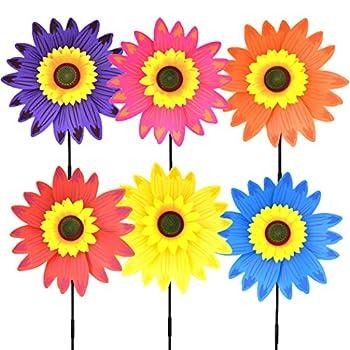 B bangcool Sunflower Lawn Pinwheels Wind Spinners Garden Party Pinwheel Wind Spinner for Patio Lawn & Garden  6 PCS )