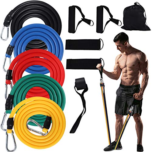 RECUTMS Resistance Bands Set With Handle Resistance Band set Men Women 11pc Fitness Exercise Band Gym Equipment for Home Stretch Workout Kit Stackable Up to 100 lbs 5 Tubes Yoga Pilates Physio