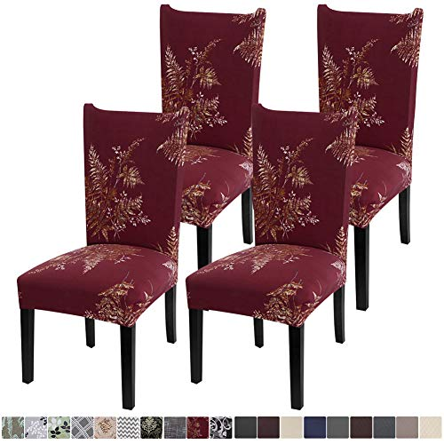 Fuloon 4 Pack Super Fit Stretch Removable Washable Short Dining Chair Protector Cover Seat Slipcover for Hotel,Dining Room,Ceremony,Banquet Wedding Party (Red)