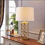 Lampe De Bureau Lampe De Chevet Une Cage D'Or Metal Lampe De Table Bureau Européen Moderne Chevet Trompette Lampe De Table