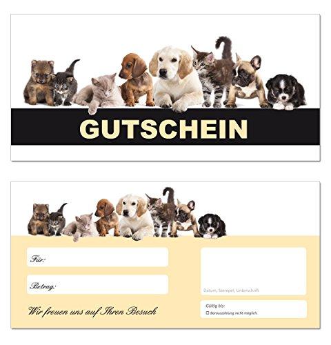 100 Geschenkgutscheine (Tiere-663) - Ein schönes Produkt für Ihre Kunden Gutscheine Gutscheinkarten für Bereiche wie Geschenke, Geburtstag, Freizeit, Erholung, Hunde, Katzen, Tiernahrung, Futter, Tierfriseur