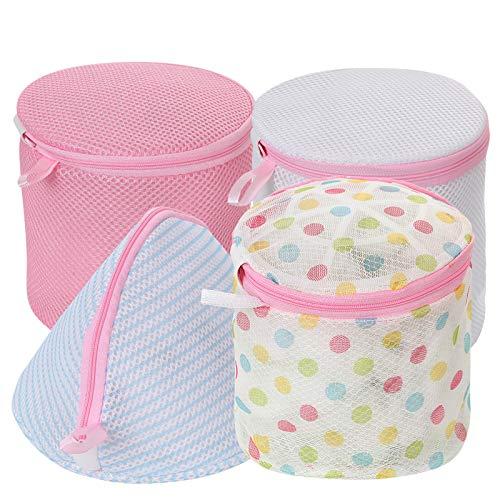 IHOMAGIC 4X Bolsa para la Colada de Sujetador Bolsa de Bras Reutilizable Malla Bolsa para Lavadora con Cremallera Malla Laundry Bag Protección para Lavar La Ropa Interior, Sostén, Sujetador Delicada