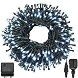 Quwin White Christmas String Lights, 115Ft 300 LED UL Certified 8 Modes with End-to-End Plug, Indoor & Outdoor Fairy Light for Christmas Tree, Patio, Wedding, Party (115Ft Cool White)