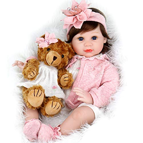 Aori Reborn Baby Doll 22 Inch Handmade Realistic Girl Baby Doll with Teddy Bear Set for Girls Children