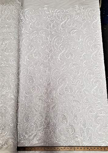 """Levi Textiles, INC. """"The Spiral Sequin"""" 3 Feet 1 Yards Curly Sequin Fabric on Poly Mesh, by The Yard, Sequin Fabric, Tablecloth, Linen, Sequin Tablecloth, Table Runner Photo Booth Backdrop (Shiny White)"""