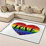 SESILY Alfombras para zona de felpudos Love Pride Emblem with On Rainbow Spectrum Flag Alfombra para suelo con forma de corazón