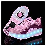 WILLQ Patín Niños con Doble Rueda Zapatos Ruedas Luz LED Zapatos Skateboarding Retráctiles Zapatillas Deporte Malla Transpirable, Carga USB, para Niñas Niños,Rosado,34