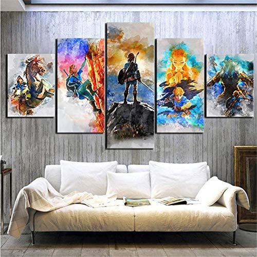 nr De Legende Von Zelda afbeeldingen spel muurkunst modulaire canvas poster moderne nacht achtergrond wooncultuur afdrukken 5 panelen 40x60 40x80 40x100 cm zonder grenzen