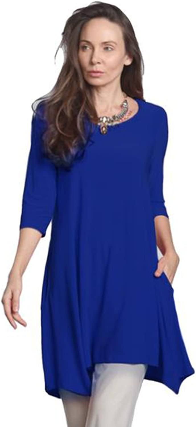 IC Collection Women's Keyhole Back Tunic in Cobalt  1575T