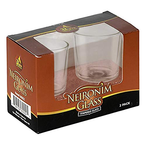 Neironim Glass Shabbos Candle Holders - 2 Pack - Premium Quality Clear Votive Cups for Shabbat - by Ner Mitzvah