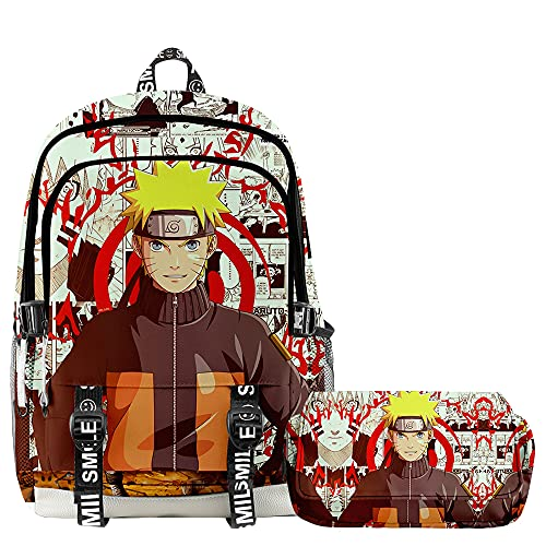 Naruto Uzumaki Naruto - Mochila infantil de 2 piezas, 4, 28x17x42cm,